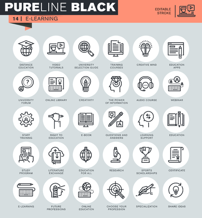 Thin line icons set of online education, e-learning, e-book. Icons for website and mobile website and apps with editable stroke. Illustration
