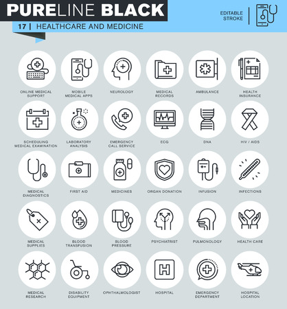 Dünne Linie Icons Set von Gesundheit und Medizin, Krankenhausversorgung, Laboranalysen, Fachärzte, medizinische Geräte. Icons für Website und mobile Website und Anwendungen mit editierbaren Schlaganfall. Illustration