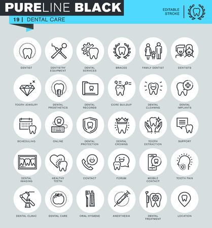 muela: iconos de líneas finas conjunto de cuidado dental, tratamiento dental, equipo dental, higiene bucal. Iconos de sitio web y sitio web para móviles y aplicaciones con ictus editable. Vectores