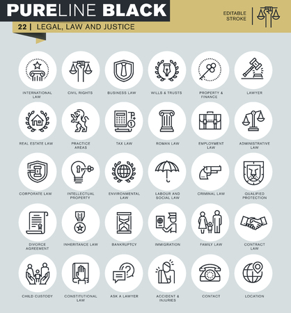 pictogramme: icônes de ligne ensemble mince de droit, le droit et la justice. Icônes pour le site web et site web mobile et applications avec AVC modifiable.