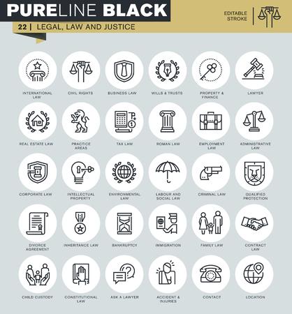 profesiones: Iconos de línea delgada de asesores legales, la ley y la justicia. Los iconos de sitio web y sitio web para móviles y aplicaciones con ictus editable.