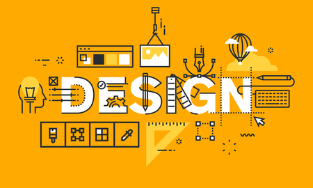 stationary: Thin line flat design banner of graphic design solutions. Modern vector illustration concept of word design for website and mobile website banners, easy to edit, customize and resize.