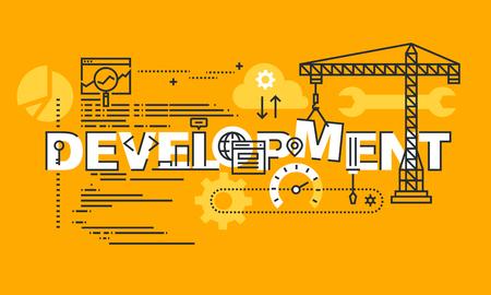 Banner design piatto sottile linea di sviluppo del design sito Web e app. Concetto di illustrazione vettoriale moderno di sviluppo di parole per sito Web e banner sito Web mobile, facile da modificare, personalizzare e ridimensionare.