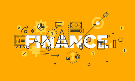 finance icons: Thin line flat design banner of business, finance and banking. Modern vector illustration concept of word finance for website and mobile website banners, easy to edit, customize and resize.