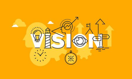 公司願景陳述的細線扁平化設計的一面旗幟。網站和移動網站的橫幅,容易編輯,定制和調整字視力現代矢量插圖概念。