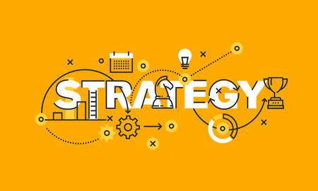 Cienka linia płaska banner strategii biznesowej i marketingowej. Nowoczesne ilustracji wektorowych koncepcja strategii słowo dla strony internetowej i mobilnej stronie banery, można łatwo edytować, dostosować i zmienić. Ilustracja