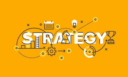 strategies: Thin line flat design banner of business and marketing strategy. Modern vector illustration concept of word strategy for website and mobile website banners, easy to edit, customize and resize. Illustration