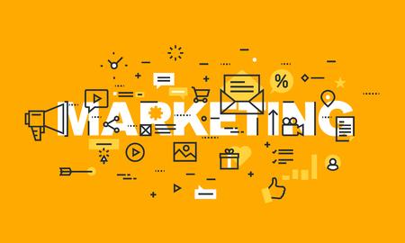 Dunne lijn platte ontwerpbanner van marketing en reclame. Modern vectorillustratieconcept woordmarketing voor website en mobiele websitebanners, gemakkelijk uit te geven, aan te passen en resize.