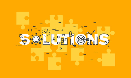 solutions: Thin line flat design banner of business solutions. Modern vector illustration concept of word solutions for website and mobile website banners, easy to edit, customize and resize.