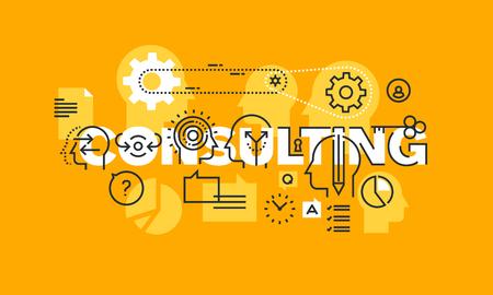 línea delgada diseño plano de la bandera de la gestión, seguridad, educación, derecho, recursos humanos, marketing, finanzas, ingeniería, la ciencia, las soluciones de consultoría estratégica. Moderno concepto de ilustración vectorial. Ilustración de vector