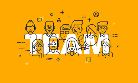 Cienka linia płaska banner ludzi biznesu pracy zespołowej, zasobów ludzkich, możliwości rozwoju zawodowego, umiejętność pracy w zespole, zarządzania. Koncepcja ilustracji wektorowych zespołu Word for internetowych i mobilnych stron internetowych banerów. Ilustracje wektorowe