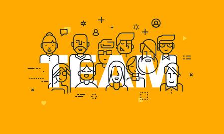 Dunne lijn platte ontwerp banner van mensen uit het bedrijfsleven teamwerk, human resources, carrièremogelijkheden, team skills, management. Vector illustratie concept van het woord team voor het web en mobiele website banners. Vector Illustratie