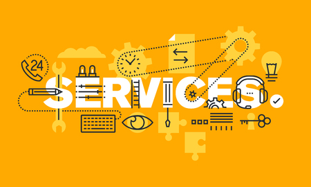 customize: Thin line flat design banner of business services, solutions and support. Modern vector illustration concept of word services for web and mobile website banners, easy to edit, customize and resize.