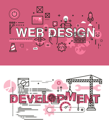 easy: Set of modern vector illustration concepts of words web design and development. Thin line flat design banners for website and mobile website, easy to use and highly customizable.
