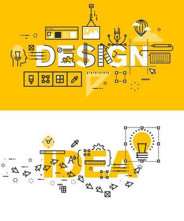 Set van moderne vector illustratie concepten woorden ontwerp en idee. Dunne lijn plat ontwerp banners voor de website en de mobiele website, makkelijk te gebruiken en in hoge mate aanpasbaar.