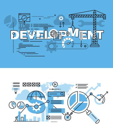 Conjunto de conceptos modernos de la ilustración del vector del desarrollo y SEO palabras. línea plana banners de diseño delgado para el sitio web y el sitio web móvil, fácil de usar y altamente personalizable.