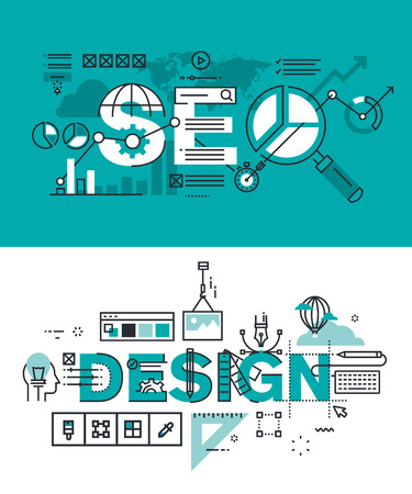 editing: Set of modern vector illustration concepts of words SEO and design. Thin line flat design banners for website and mobile website, easy to use and highly customizable.