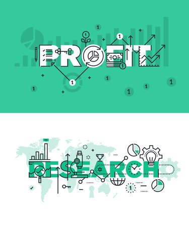 customizable: Set of modern vector illustration concepts of words profit and research. Thin line flat design banners for website and mobile website, easy to use and highly customizable. Illustration