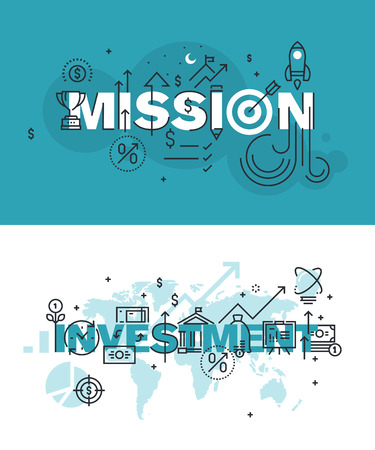 Set of modern vector illustration concepts of words mission and investment. Thin line flat design banners for website and mobile website, easy to use and highly customizable. Vettoriali