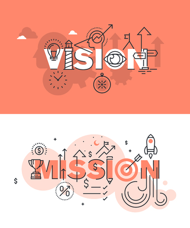 Set of modern vector illustration concepts of words vision and mission. Thin line flat design banners for website and mobile website, easy to use and highly customizable.  イラスト・ベクター素材