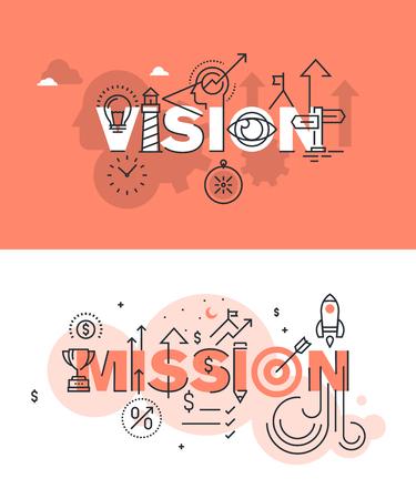 Conjunto de conceptos modernos de la ilustración del vector de palabras visión y misión. línea plana banners de diseño delgado para el sitio web y el sitio web móvil, fácil de usar y altamente personalizable.