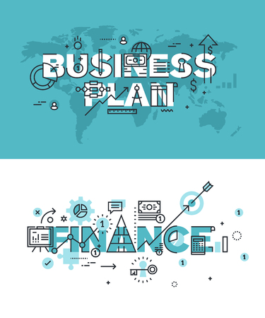 website words: Set of modern vector illustration concepts of words business plan and finance. Thin line flat design banners for website and mobile website, easy to use and highly customizable.