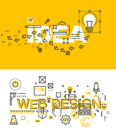 言葉のアイデアと web デザインのモダンなベクトル イラスト概念のセットです。ウェブサイト、携帯サイト、使いやすく、カスタマイズ性の高い細