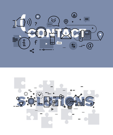 Set of modern vector illustration concepts of words contact and solutions. Thin line flat design banners for website and mobile website, easy to use and highly customizable.