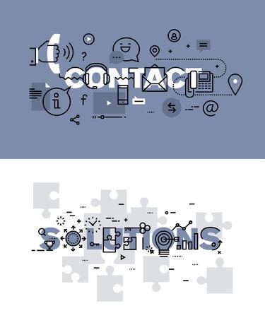 Set van moderne vector illustratie concepten van de woorden contact en oplossingen. Dunne lijn plat ontwerp banners voor de website en de mobiele website, makkelijk te gebruiken en in hoge mate aanpasbaar. Stock Illustratie