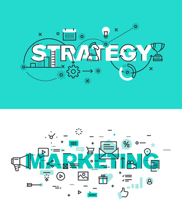 Conjunto de conceptos modernos de la ilustración del vector de la estrategia de palabras y comercialización. línea plana banners de diseño delgado para el sitio web y el sitio web móvil, fácil de usar y altamente personalizable. Ilustración de vector