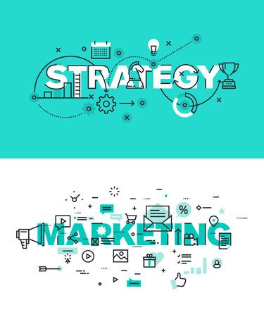 redes de mercadeo: Conjunto de conceptos modernos de la ilustración del vector de la estrategia de palabras y comercialización. línea plana banners de diseño delgado para el sitio web y el sitio web móvil, fácil de usar y altamente personalizable.