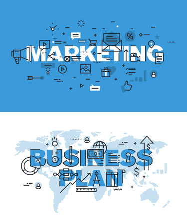 Set of modern vector illustration concepts of words marketing and business plan. Thin line flat design banners for website and mobile website, easy to use and highly customizable. Illustration