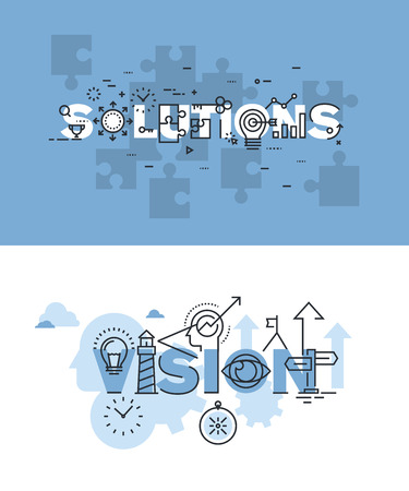 Set of modern vector illustration concepts of words solutions and vision. Thin line flat design banners for website and mobile website, easy to use and highly customizable.