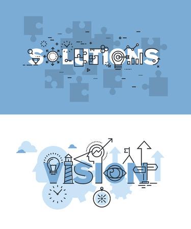 Zestaw nowoczesnych ilustracji wektorowych koncepcji słów rozwiązań i wizji. Cienka linia płaskich bannery projektowe dla strony internetowej i mobilnej strony internetowej, łatwy w użyciu i wysoce konfigurowalny.