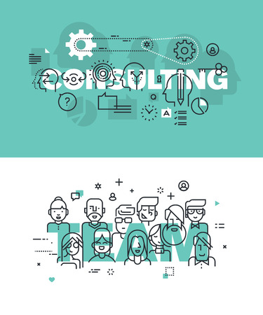 Conjunto de conceptos modernos de la ilustración del vector de las palabras de consultoría y equipo. línea plana banners de diseño delgado para el sitio web y el sitio web móvil, fácil de usar y altamente personalizable.