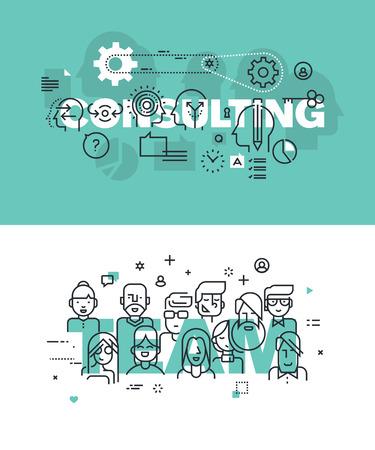 relaciones publicas: Conjunto de conceptos modernos de la ilustración del vector de las palabras de consultoría y equipo. línea plana banners de diseño delgado para el sitio web y el sitio web móvil, fácil de usar y altamente personalizable.