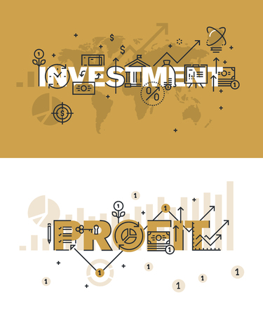 website words: Set of modern vector illustration concepts of words investment and profit. Thin line flat design banners for website and mobile website, easy to use and highly customizable.