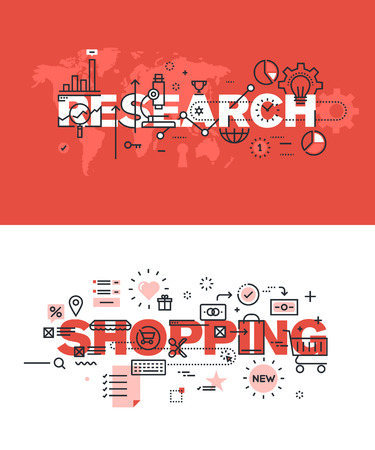 Set of modern vector illustration concepts of words research and shopping. Thin line flat design banners for website and mobile website, easy to use and highly customizable.