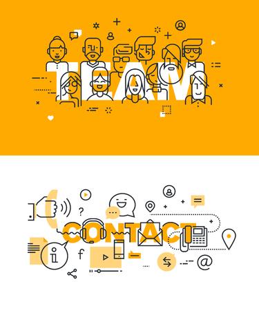 trabajo en equipo: Conjunto de conceptos modernos de la ilustración del vector de palabras y equipo de contacto. línea plana banners de diseño delgado para el sitio web y el sitio web móvil, fácil de usar y altamente personalizable. Vectores