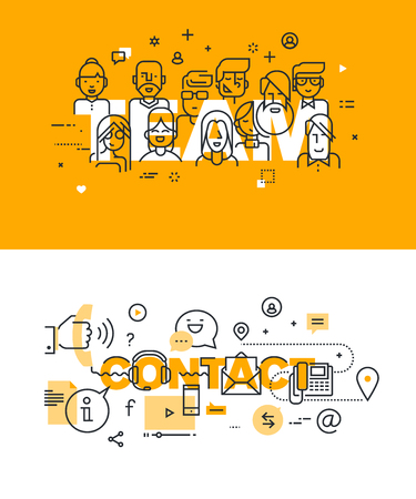 business teamwork: Set of modern vector illustration concepts of words team and contact. Thin line flat design banners for website and mobile website, easy to use and highly customizable. Illustration