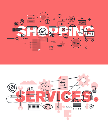 website words: Set of modern vector illustration concepts of words shopping and services. Thin line flat design banners for website and mobile website, easy to use and highly customizable.