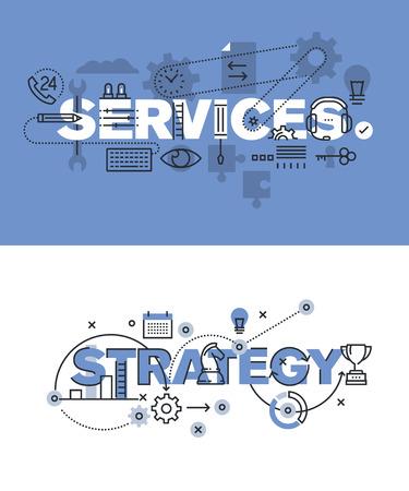 즉 서비스와 전략의 현대 벡터 일러스트 레이 션 개념의 집합입니다. 웹 사이트 및 모바일 웹 사이트에 대한 얇은 라인 평면 디자인 배너, 사용하기 쉽