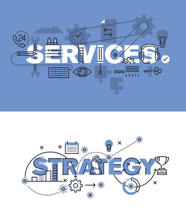 Set of modern vector illustration concepts of words services and strategy. Thin line flat design banners for website and mobile website, easy to use and highly customizable.