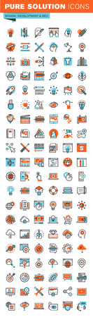 Thin line web icons for graphic design, website and app design and development, seo, art and creative process, for websites and mobile websites and apps.