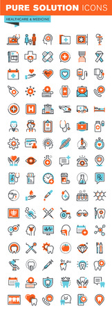 Thin line web icons for medical services and support, dental care, medicines and equipment, for websites and mobile websites and apps.