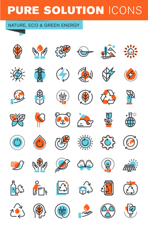 environment: Thin line web icons for environment, recycling, renewable energy, green technology, for websites and mobile websites and apps.