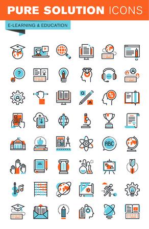 Cienka linia ikon WWW dla edukacji, szkolenia i kursy on-line, uniwersytetu i kształcenia na odległość na stronach internetowych i stronach internetowych i aplikacjach mobilnych.