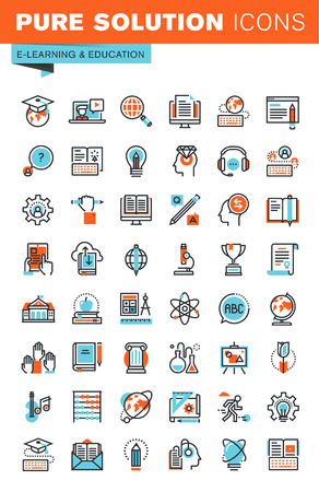 Thin line web icons for education, online training and courses, university and distance education, for websites and mobile websites and apps.