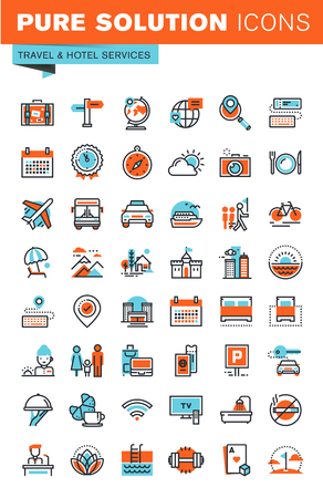 accommodation: Thin line web icons for travel and tourism, hotel facilities, online booking, for websites and mobile websites and apps.