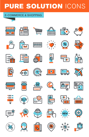 shopping icons: Thin line web icons for e-commerce, m-commerce, online shopping and payment, for websites and mobile websites and apps. Illustration